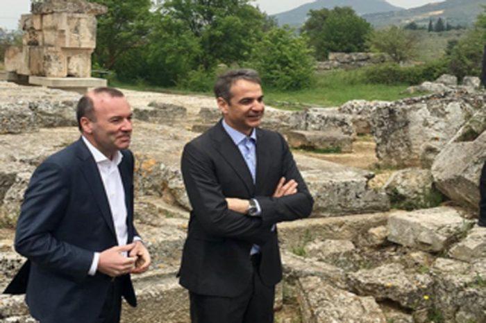 Manfred Weber και Κυριάκος Μητσοτάκης στη ΝΕΜΕΑ