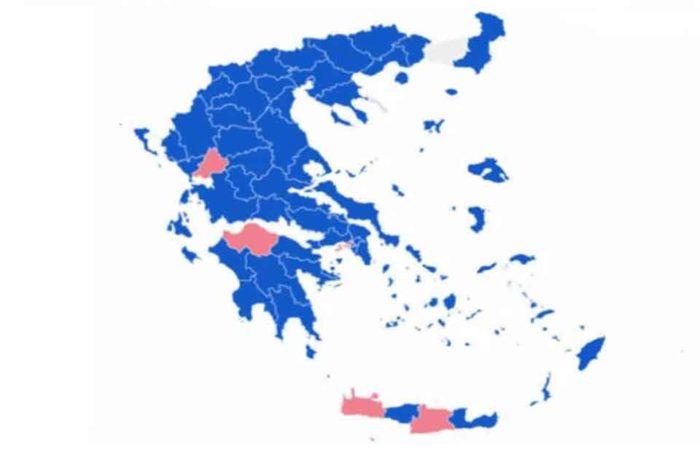 Σε 12 από τις 13 περιφέρειες της χώρας προηγείται η ΝΔ