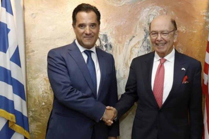 Η συνάντηση  του υπουργού Ανάπτυξης και Επενδύσεων, Άδωνη Γεωργιάδη, με τον υπουργό Εμπορίου των ΗΠΑ Γουίλμπορ Ρος.