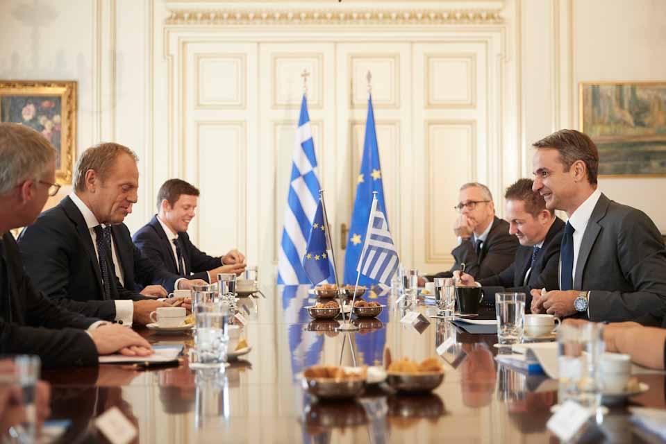 Συνάντηση του Πρωθυπουργού Κυριάκου Μητσοτάκη , με τον Ντόναλντ Τούσκ