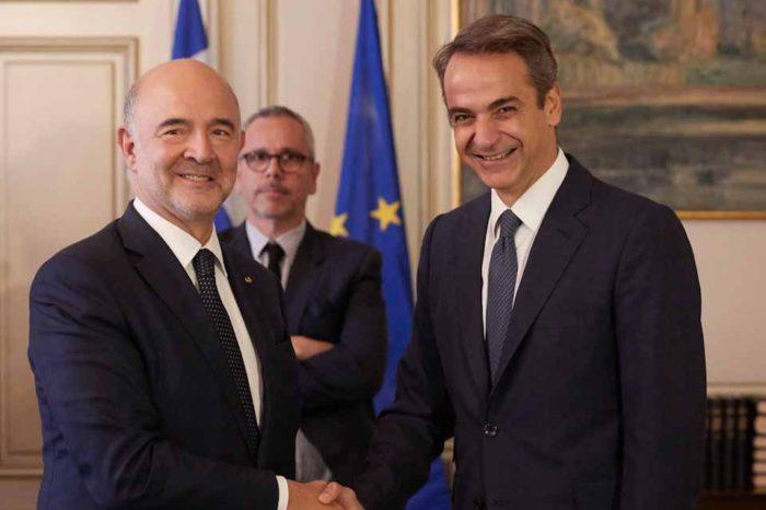 Συνάντηση του Πρωθυπουργού Κυριάκου Μητσοτάκη με τον Επίτροπο ,Πιερ Μοσκοβισί