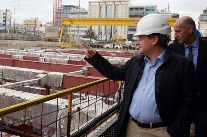 Ο Κ.Καραμανλής στο  εργοτάξιο της επέκτασης της Γραμμής 3 του Μετρό
