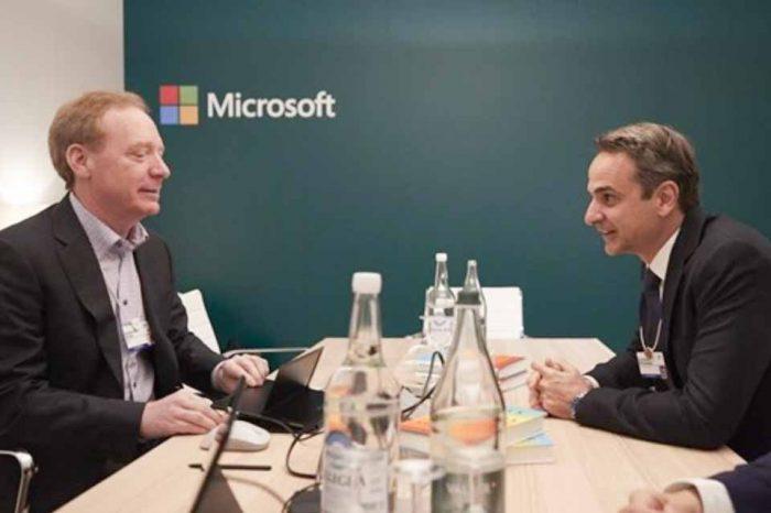 Ο Κυριάκος Μητσοτάκης στο περίπτερο της Microsoft στο Νταβός