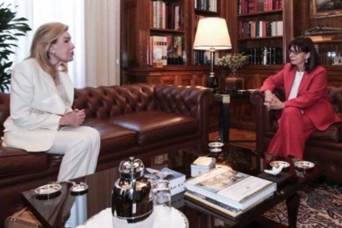 Η Πρόεδρος της Δημοκρατίας  είχε συνάντηση με   την Μαριάννα Βαρδινογιάννη